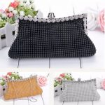Women Ladies Pearl Crystal Diamante Wedding Prom Party Clutch Handbag Purse Bag