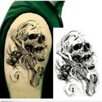 3D Skull Arm Temporary Tattoo Sticker Waterproof Removable