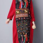 Gracila Spring Vintage Printed Patchwork Long Sleeve Robe Maxi Dresses