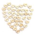 50Pcs Mini Wooden Love Hearts Wedding Decoration Scrapbooking Crafts DIY