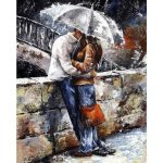 40X50CM Frameless Embracing Lover Under Rainy Day Canvas Linen Canvas Oil Painting DIY Paint By Numb