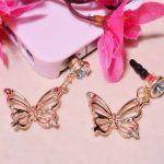 Alloys Plating Butterfly Rhinestones Dust Plug Moblie Chain 3.5mm For iPhone Samsung Xiaomi