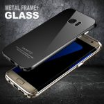 Luphie Ultra-thin Aluminum Metal Frame Tempered Glass Back Cover Case for Samsung Galaxy S7/S7 Edge
