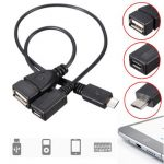 Micro USB Male To USB Female Host OTG Cable Micro USB Female Cable Y Splitter