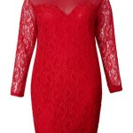 Women Plus Size Long Sleeve Hollow Hand-Crocheted Lace Dress