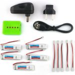 5X Eachine 3.7V 200mah 30C Lipo Battery With Charger for Blade Inductrix Tiny Whoop RC Quadcopter