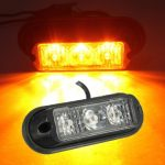 3 LED Flashing Strobe Recovery Beacon Lights Breakdown Lamp Trunk Lorries Amber