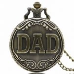 Dad Pattern Antique Bronze Quartz Pocket Watch with Necklace Men Fob Pendant Watches Father Gift