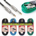 6 Metres Pulse 6.35mm Low Noise Guitar Bass PVC Cable Lead Black Blue Green Purple