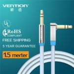"Vention VAB-A04-S150 3.5mm Jack Aux Cable Male to Male ""L"" 90 Stereo Audio Cable 1.5M 5ft"
