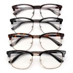 Unisex Men Women Half Frame Metal Eyeglasses Clear Lens Plain Glasses Vision Eyewear