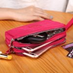 Multi-layer Portable Hanging Rope Zipper Nylon Clutch Bag Phone Wallet for Phone Under 6-inch