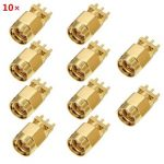 10pcs Copper 50Ohm SMA Male Plug PCB Clip Edge Solder Mount RF Connector