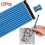 12Pcs Set Blue HB Pencils With Sharpener Student Writting School Stationery