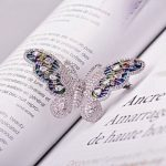 Micro Zircons Inlay Colorful Butterfly Brooch Pins For Women