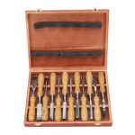 12Pcs Carbon Steel Wooden Gouges Carving Hand Chisel Tool Set with Box