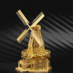 Aipin DIY 3D Puzzle Stainless Steel Model Kit Dutch Windmills Brass Color