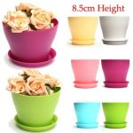 8.5cm 6 Colors Plastic Plant Flower Planting Flower Pot Garden Office Decoration Flowerpot With Tray