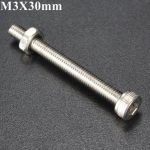 10pcs M3X30mm Stainless Steel Hex Socket Head Screw Bolt And Nut Set