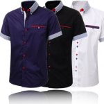 Men's Stylish Formal Short Sleeve Shirt Slim Fit Casual Suits Dress Shirt Tops