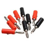 10pcs 4mm Adapter Wire Cable Banana Plug Connectors Audio Speaker Black and Red