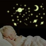 Luminous Wall Stickers Planets World Glow In Darkness Home Room Window Wall Decor