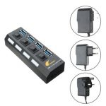 4 Ports USB 3.0 Hub 5Gbps With On/Off Switch AC Power Adapter Cable For Laptop Desktop Play Plug