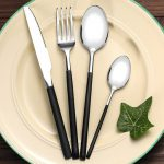 KCASA FL4 4 Pieces Stainless Steel Silver Flatware Set Mirror Polishing Flatware Dinnerware Cutlery