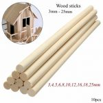 10Pcs DIY Wooden Arts Craft Sticks Pole Rods Sweet Trees Tool 30CM