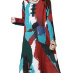 Ethnic Patchwork Printing Long Sleeve Loose Women Plate Buckle Dress