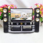 Hi-Fi TV Cabinet Set Combo For Barbie Doll House Furniture Living Room Dollhouse Decoration
