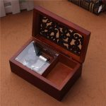 Wind Up Music Box Musical Finished Wooden with Open Gothic Pattern Lid Jewelry