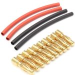 10 x 4mm Male Gold Bullet Banana Connector Plug Heat Shrink