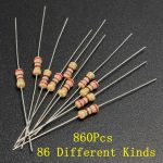 860Pcs 1/4 Watt Resistor 86 Kinds Of Different Resistance E-12 Series Assortment Kits