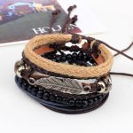 4 types Wood Beads Woven Leather Bracelet Leaf Pendant Unisex Bangle Chain