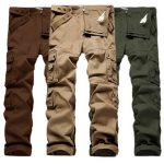 ChArmkpR Mens Plus Big Size 30-46 Cargo Pants Outdoor Loose Cotton Multi-pocket Causal Solid Color Pants