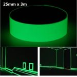25mm x 3m Photoluminescent Tape Glow In The Dark Egress Safety Mark Bright Green