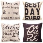 Square English Letter Cotton Linen Pillow Case Throw Cushion Cover Home Decor