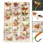 ZANLURE 48Pcs Butterfly Style Single Hook Trout Fly Fishing Flies Wet Dry Lure Baits Fish with Box