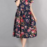 Folk Floral Print O-neck Short Sleeve Loose Women Dresses