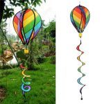 Striped Rainbow Windsock Hot Air Balloon Wind Spinner Garden Yard Outdoor Decor Toy
