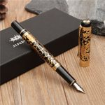 JINHAO 5000 Black And Golden Medium Nib Fountain Pen Dragon Embossed