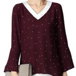O-NEWE L-5XL Women Loose Dot Print Flare Sleeves Ruffles Blouse