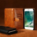 Floveme PU Vintage Leather Three Fold Flip Wallet Case Magnetic Detachable Phone Case For iPhone 7 Plus