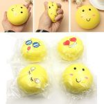 Giggle Bread Squishy Jumbo Yellow Emoji Bun Bread 9cm Slow Rising Phone Bag Strap Collection Deocor Gift