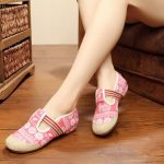 Embroidery Women Shoes Casual Slip On Soft Flat Loafers