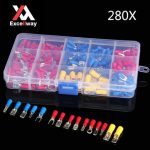 Excellway EC08 280pcs Assorted Electrical Fork Ring Spade Crimp Terminal Wire Connector Box Kit