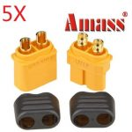 5 Pair Amass XT60 Plug Connector With Sheath Housing Male Female