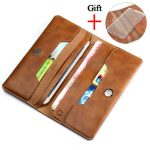Retro Men's Leather Wallet Clutch Bag With Phone Pouch Card Pocket For iPhone 7 Plus Xiaomi Samsung