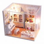 Hoomeda DIY Wood Dollhouse Miniature With LED Furniture Cover